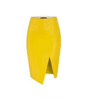 Spódnica asymetryczna z skóry w kolorze żółtym