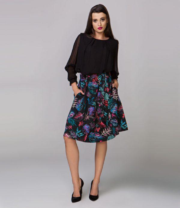 Spódnica damska BERRYS, czarna z kolorami paprociami