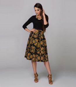 Spódnica damska NAVYA, czarna z herbowym żółtym wzorem