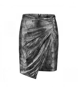 Spódnica mini ze skóry naturalnej w kolorze czarno-srebrnym