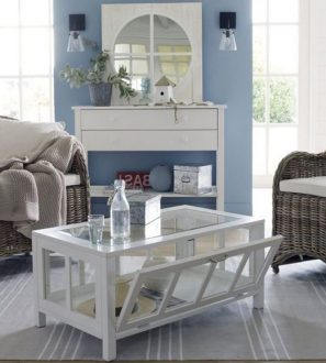Stolik do Salonu drewniany i szklany Szerokość: 120 cm Biały