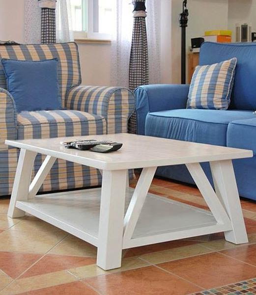 Stolik drewniany biały do Salonu kawowy Szerokość: 120 cm