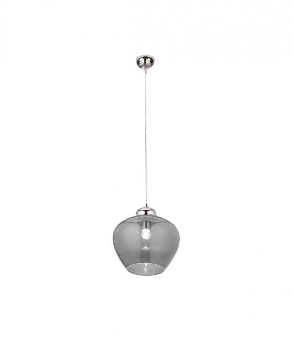 Stylowa szklana lampa wisząca, kielich grafitowy, elementy chromowe