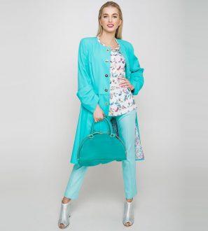 Stylowy turkusowy płaszcz damski DIMA, złote guziki