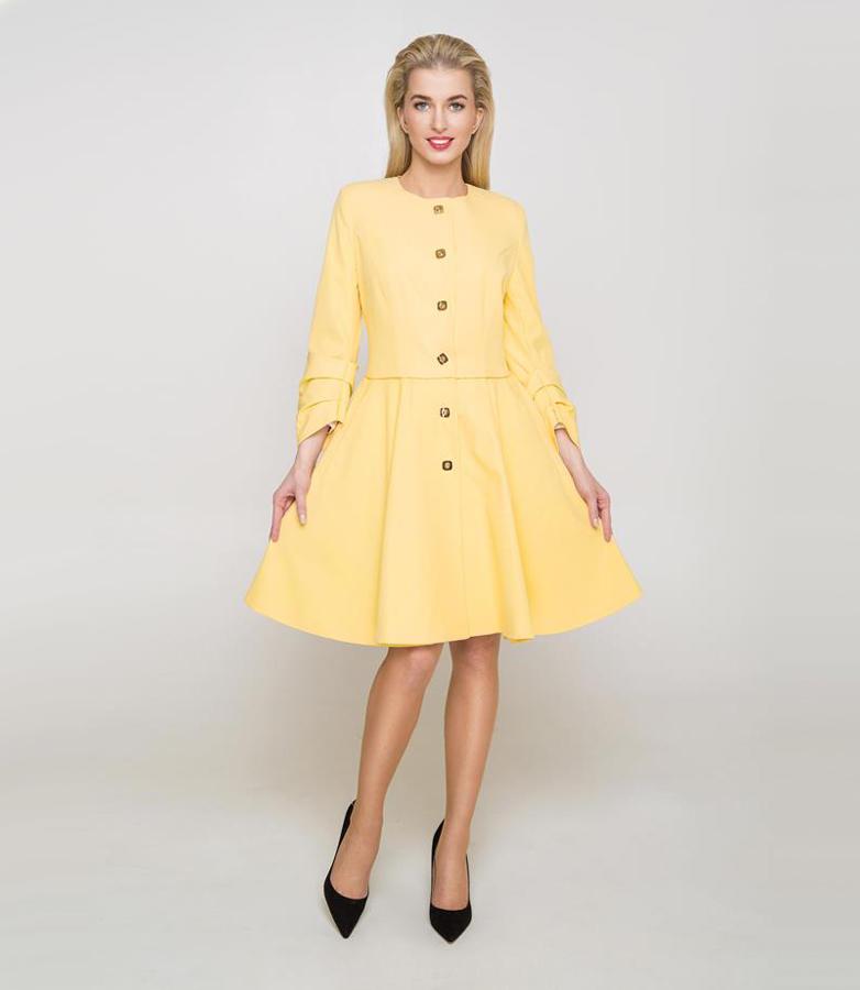 Stylowy żółty płaszcz damski DIMA, złote guziki