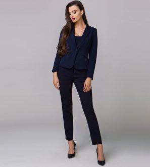 Subtelne spodnie damskie do żakietu lub marynarki, granatowe