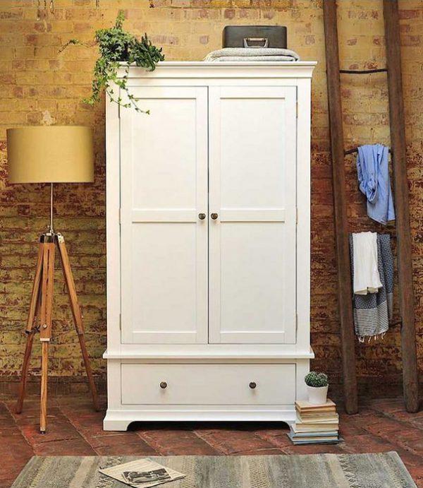Szafa do sypialni drewniana (biała) Szerokość: 111cm Bonita 2D1S