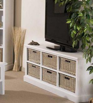 Szafka RTV drewniana (biała) Koszyki SOLENA Szerokość: 130 cm