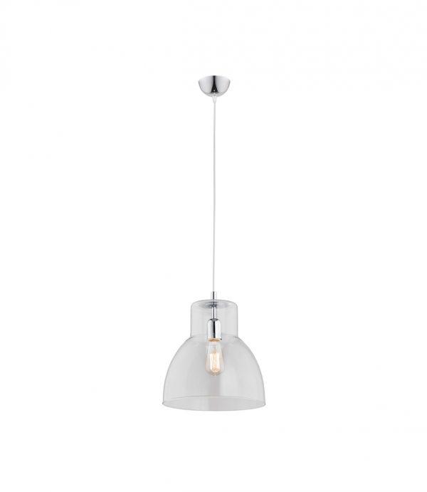 Szklana lampa wisząca przezroczysty klosz stożek szerokość 300mm