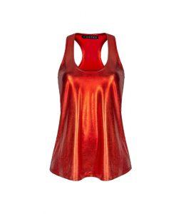 Top w kolorze czerwonym metalicznym
