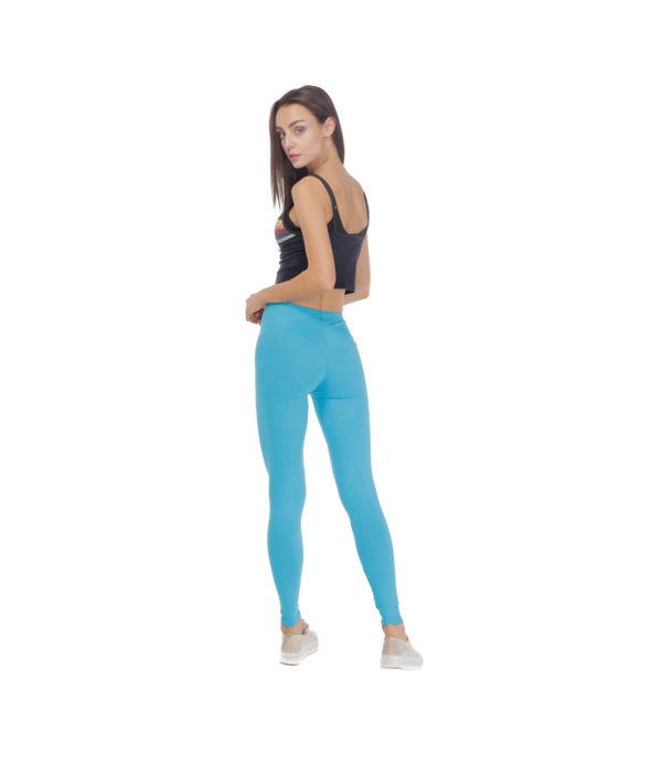 Turkusowe legginsy damskie w gumkę, elastyczne