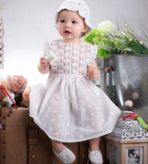 Ubranko na chrzest dla dziewczynki - Sukienka, bolerko i kapelusik
