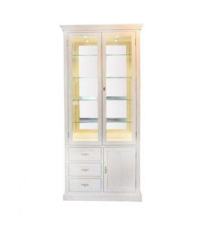 Witryna dębowa z lustrem podświetlana