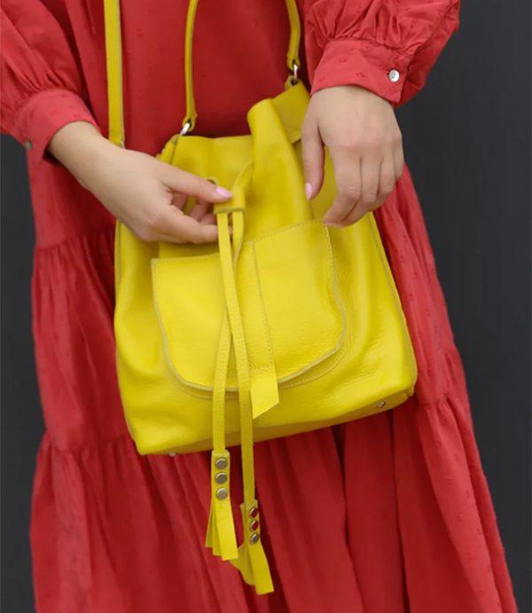 Worek miejski, torebka, plecak 3in1 żółty pick
