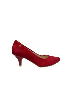 Zamszowe czółenka damskie na niskiej szpilce (czerwone)