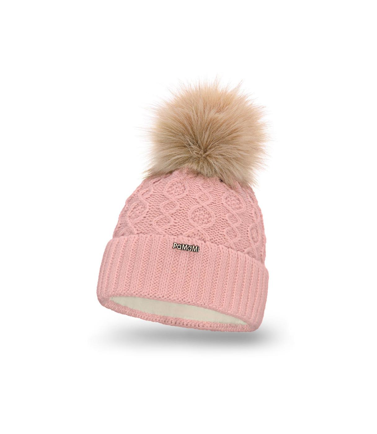 Zimowa różowa czapka damska z futerkiem i pomponem